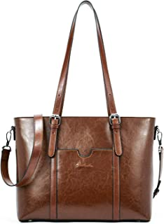 "BOSTANTEN Women Leather Laptop Shoulder Handbag Vintage Briefcase 15.6"" Computer Work Tote Bag Brown Coffee Medium (L) 16.14"" x (W) 4.72"" x (H) 11.02"""