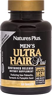NaturesPlus Men's Ultra Hair Plus, Sustained Release - 60 Tablets - All-Natural Hair Growth Supplement for Men - Promotes ...