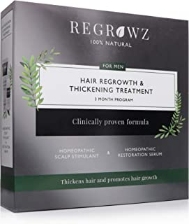REGROWZ Mens All Natural Hair Regrowth, Stop and Reverse Hair Loss, Clinically Proven, Natural Ingredients with Allium Cep...