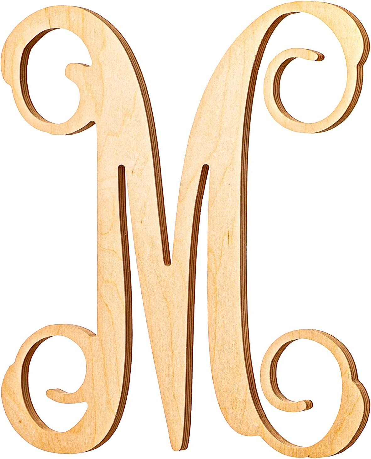 UNFINISHEDWOODCO Single Vine Monogram Unfinished Wood Letter, 19.5-Inch Tall, Initial for Wall Décor & Baby Door Hanger - Letter M