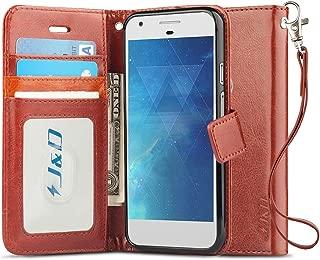 J&D Case Compatible for Pixel 2 XL 2017 Case, [Wallet Stand] [Slim Fit] Heavy Duty Shock Resistant Flip Cover Wallet Case for Google Pixel 2 XL 2017 Wallet Case - [Not for Google Pixel 2] - Brown