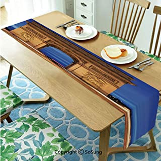 Paris Decor Table runner for Farmhouse Dining Coffee Table Decorative,Arc de Triomphe Paris France at Night. View from Avenue des Champs Elysees 16