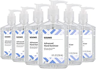 Amazon Brand - Solimo Hand Sanitizer with Vitamin E, 8 Fl Oz (Pack of 6)