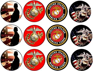 12 US Marines Corp Custom Edible Cupcake or Cookie Toppers (Wafer/Rice Paper)