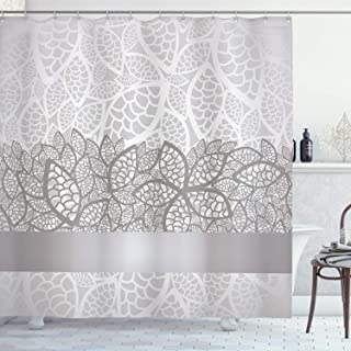 Ambesonne Grey Shower Curtain, Lace Inspired Flower Motifs Bridal Composition Leaves Wedding Theme, Cloth Fabric Bathroom Decor Set with Hooks, 70