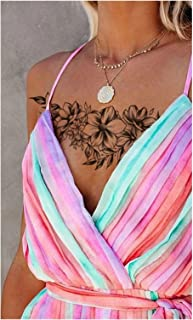 Qqinghan Rose Peony Flower Girls Tijdelijke Tatoeages voor Dames Waterdichte Zwarte Tattoo Stickers 3D Blossom Lady Schoud...