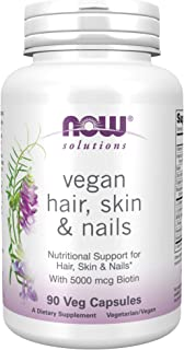 NOW Solutions Vegan Hair Skin Nails Nutritional Support with 5000 mcg Biotin Veg Capsules, Light Gray W/Speckles, 90 Count