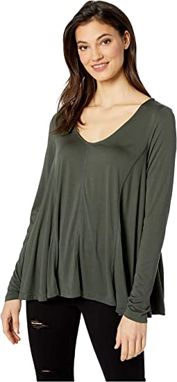 Back Flowy Knit Long Sleeve Top