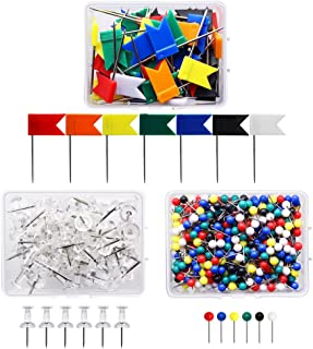 Meetory 3 Box Map Flag Push Pins Flags Tacks,Plastic Head with Steel Point,1/8 Inch,600 Pieces