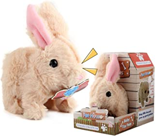 Plush Bunny Battery Operated, Hopping Walk Sway Its Tail Rabbit Interactive and Educational Plush Cute Pet Toy for Childre...