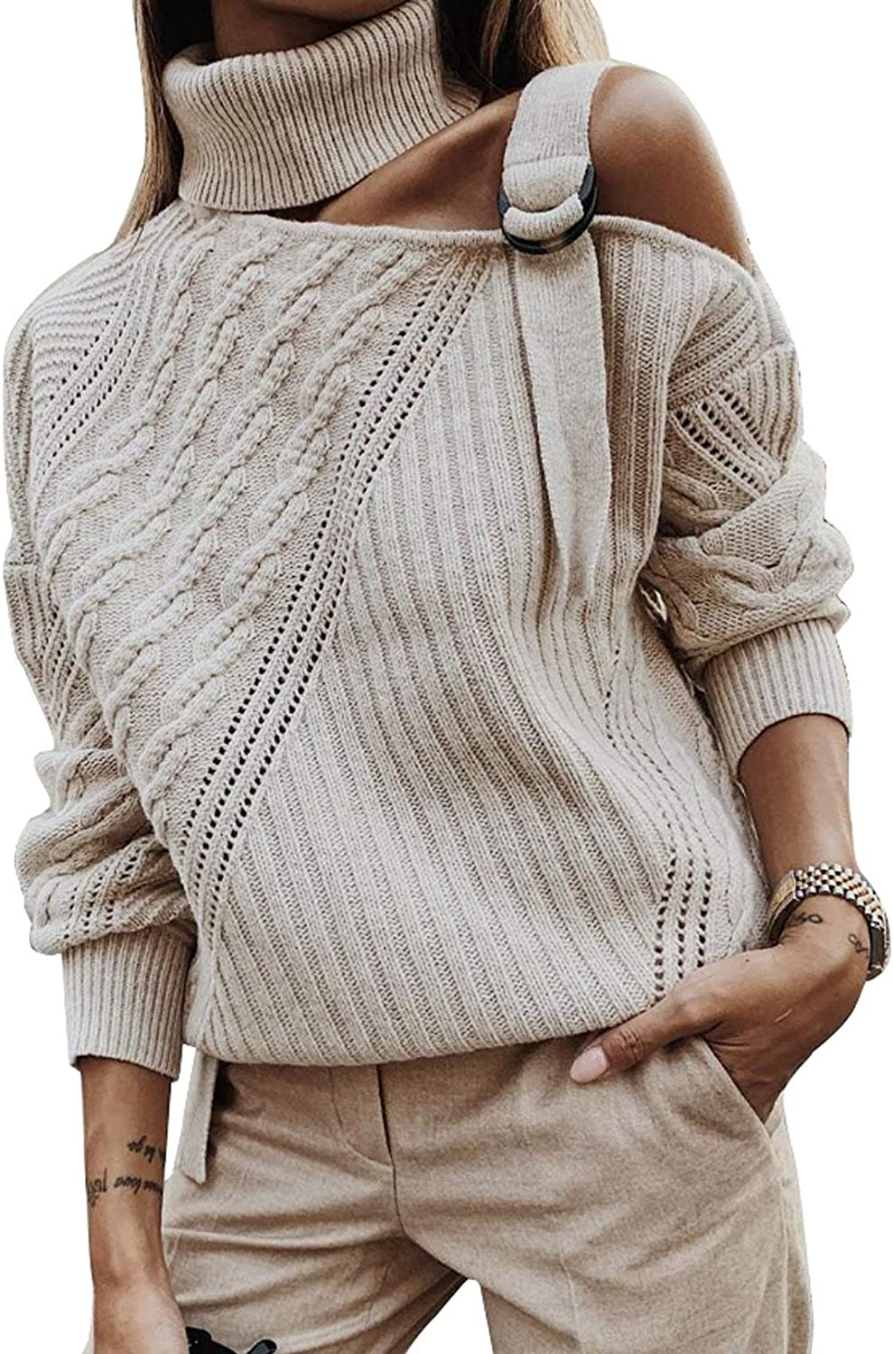 HOTAPEI Sweaters for Women Long Sleeve Cold Shoulder Hand Knit Sweater Tops Sexy Pullover Loose Jumper Sweaters
