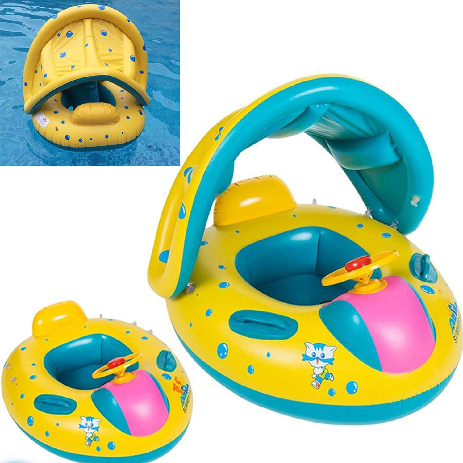 Inflatable Sunshade Baby Pool Float ,Swimming Ring Fish boat with Sun Canopy
