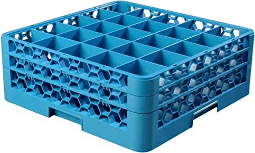 high quality Carlisle RG25-214 OptiClean 25 Compartment high quality popular Glass Rack with 2 Extenders, Blue outlet online sale