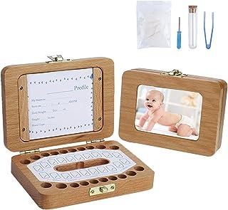 Boîte à Dent de Lait Organisateur De Rangement Pour Les Dents En Bois avec Cadre Photo Et Étiquette pour Fille Garçon Enfants