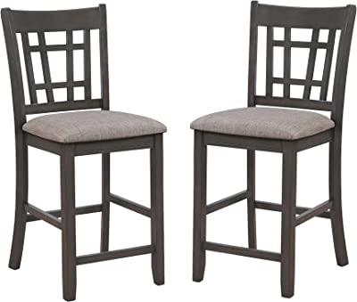 Benjara Wooden Dining Side Chairs with Open Grid Pattern, Set of 2, Gray and Brown