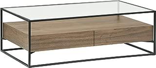 Rivet King Street Industrial Floating Storage Coffee Table, Walnut, Black Metal, Glass
