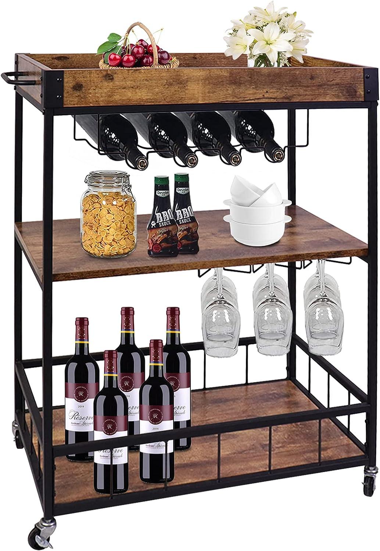 aboxoo Wine Serving Bar Cart 3 Tier Home Rolling Rack with Wheels Mobile Kitchen Serving Cart,Industrial Vintage Style Wood Metal Serving Trolley Glass Holder Bar Cabinet