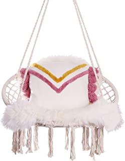 U&i Hammock Chair Macrame Swing with Cushion and Luxury Natural Sheepskin Rug. Hanging Chairs for Indoor, Outdoor, Home, P...