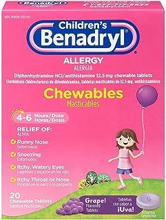 Benadryl Children's Allergy Grape Chewables, 20 Count Per Box (6 Pack)