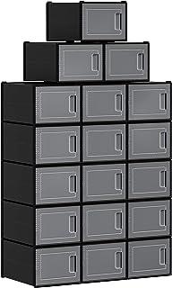 SONGMICS Boîtes à Chaussures, Lot de 18, Rangement Chaussures, Organisateur, Pliable, empilable, pour Pointure Jusqu'à 44,...