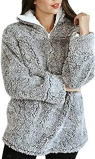 Chartou Women's Warm Fuzzy Sherpa Fleece Quarter-Zip Pullover Sweatshirts Outwear