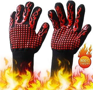 EKKONG Guantes de Barbacoa, Resistentes Al Calor Extremo Guantes de Cocina Antideslizante para Horno Microondas y Parrilla, EN407 Protege hasta 1472 ° F