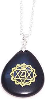 Black Stone Chakra Pendant - Engraved Chakra Symbol - Chain Necklace