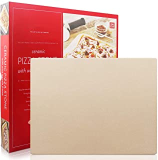 Pizza Stone, Engineered Tuff Cordierite Durable, Heavy Duty Ceramic, Baking Stone, Pizza Pan, Perfect for Oven, BBQ and Gr...