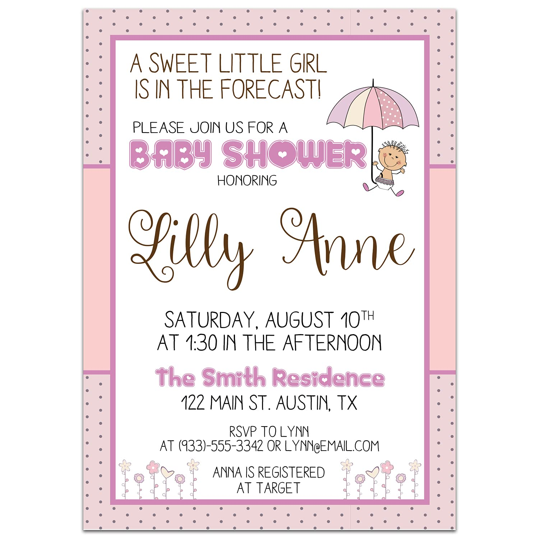 Umbrella Girl Direct stock discount Baby Shower Invitations Import