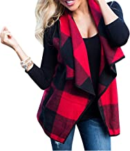 FOXRED Women's Turn-Down Collar Casual Slash Hem Plaid Sleeveless Open Front Cardigan Vest with Pocket (S-2XL)
