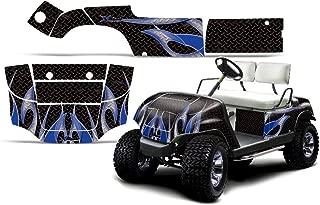 1995-2006 Yamaha Golf Cart AMRRACING ATV Graphics Decal Kit-Tribal Flames-Blue-Black