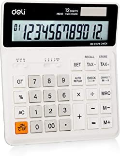 Deli Calculator,Standard Function Electronic Desktop Business Calculator with 12 Digit Large Display,Solar Battery LCD Dis...