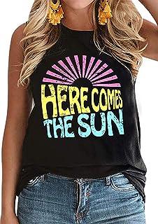 UNIQUEONE Here Comes The Sun Tank Tops Women Cute Sunshine Graphic Shirt Sleeveless Letter Print Tee T Shirt