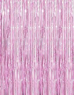 GOER Fransenvorhänge aus Metallic Lametta Folie, 1 x 3 m, für Partys, Fotohintergrund, Hochzeitsdekoration (hellrosa, 1 Stück)