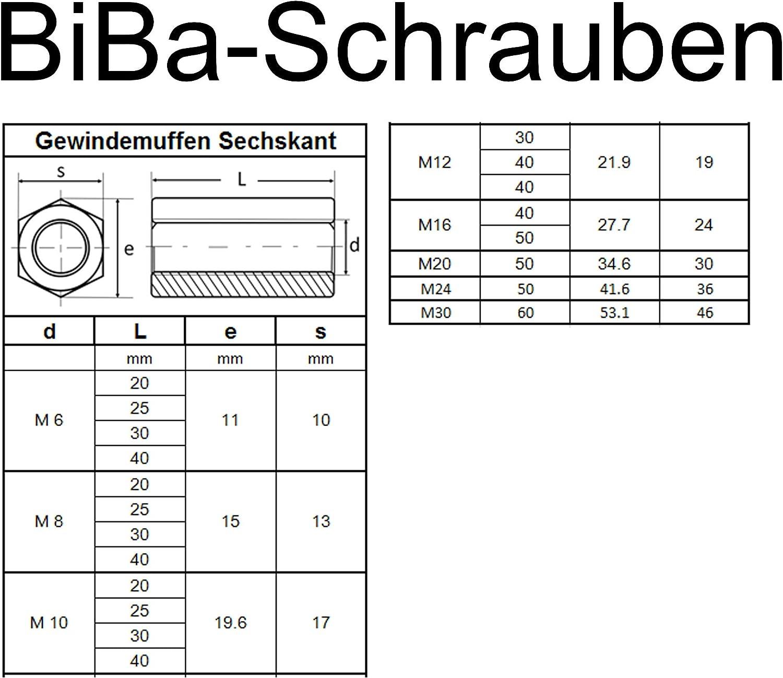 BiBa-Schrauben Gewindemuffen M6 x 20 sechskant SW10 20 St/ück Edelstahl A2 V2A VA Distanzmuttern Verbindungsmuttern Langmuttern