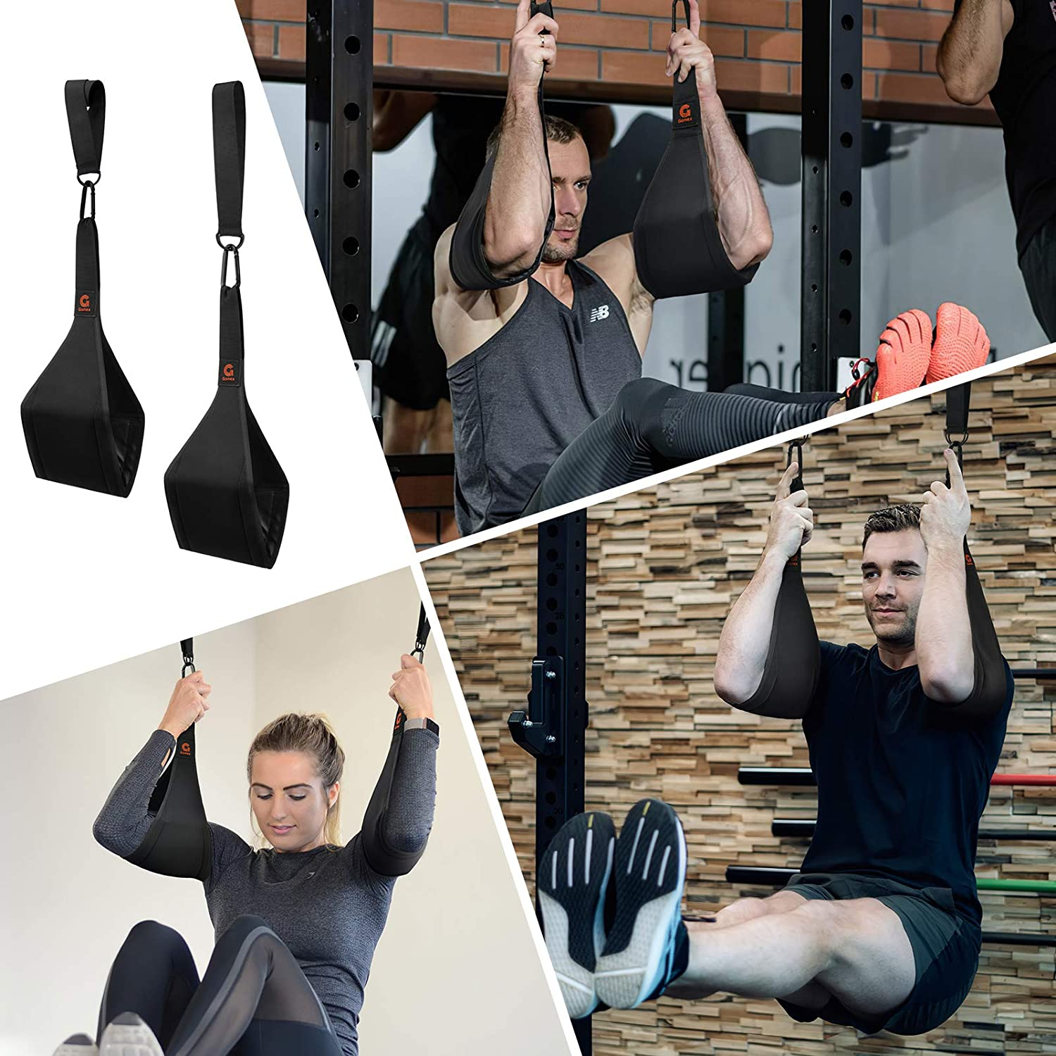 Gonex Adjustable Arm Hanging Ab Straps for Pull Up Bar Abdominal Muscle Building Core Strength Training Leg Raise Strap Home Gym Fitness Workout for Men /& Women