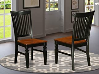 East West Furniture Weston Dining Wood Seat Chair, Slatted Back, Black and Cherry Finish