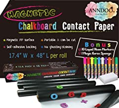 Magnetic Chalkboard Contact Paper 48x17.4 Inch Self Adhesive Magnet Wallpaper with 10 Neon Liquid Markers, Non-porous Magn...