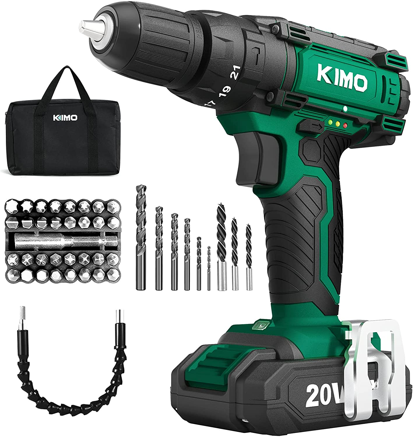 KIMO Cordless Drill Set 20V Battery Cha Rapid rise with and New Orleans Mall