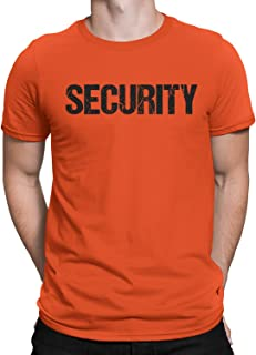 NYC FACTORY Security Tee Orange T-Shirt Mens Tee Staff Event Crew Shirt Front & Back Print