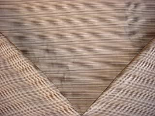 44H7 - Beige / Chocolate Pinstripe Designer Upholstery Drapery Fabric - By the Yard