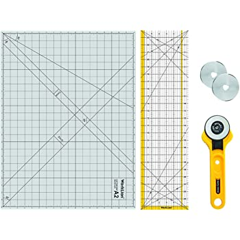 """WORKLION Rotary Cutting Mat Set:45mm Rotary Cutter & 2 Replacement Rolling Blades & 18""""x 24"""" inch Self-Healing Cutting Mat & 6.5""""x 24.5"""" inch Clear Acrylic Ruler for Quilting&Sewing and Craft Projects"""