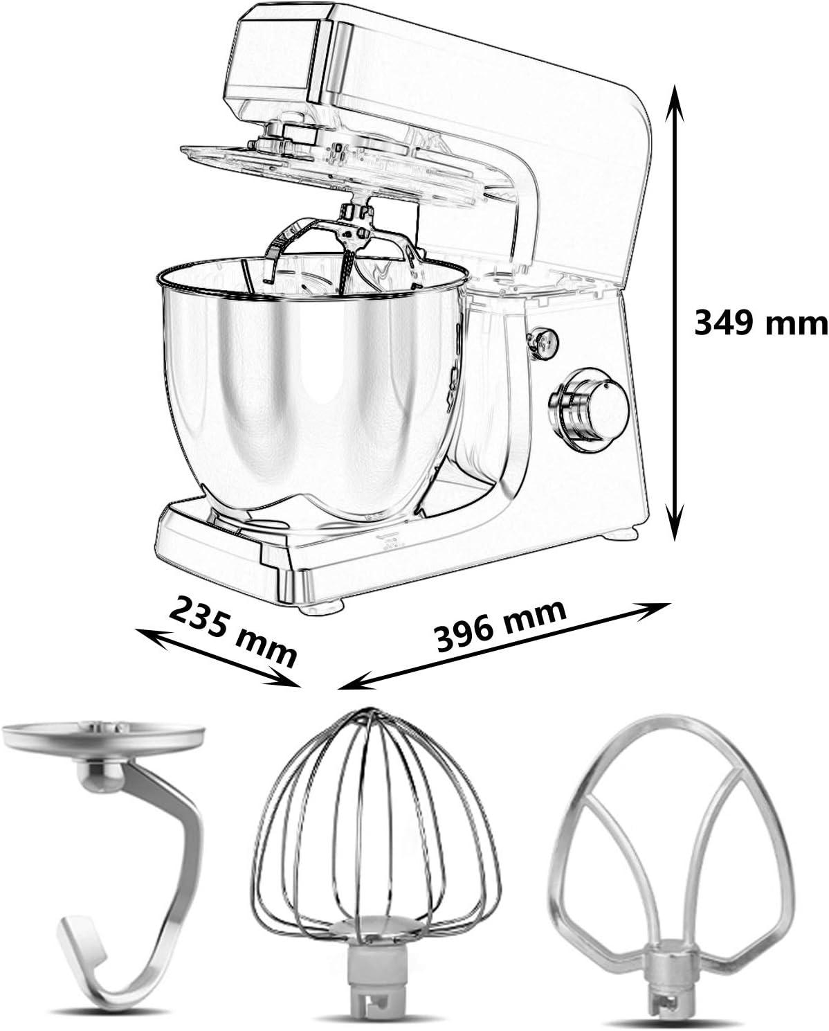 MéLangeur Vertical, MéLangeur Multifonctionnel RéGlable à 6 Vitesses avec Bol en Acier Inoxydable de Grande Capacité 6,5 L DéCoration pour Cuisine Moderne (Color : White) Red