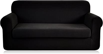 CHUN YI Jacquard loveseat Covers 2-Piece Stretch Polyester Spandex Fabric Couch Slipcover, 2 Seater Sofa Protector (Loveseat, Black)