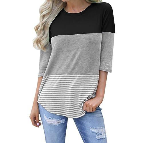 f6f7e092255a91 kigod Womens Casual 3 4 Sleeve Color Block T-Shirt Blouses Back Lace Striped