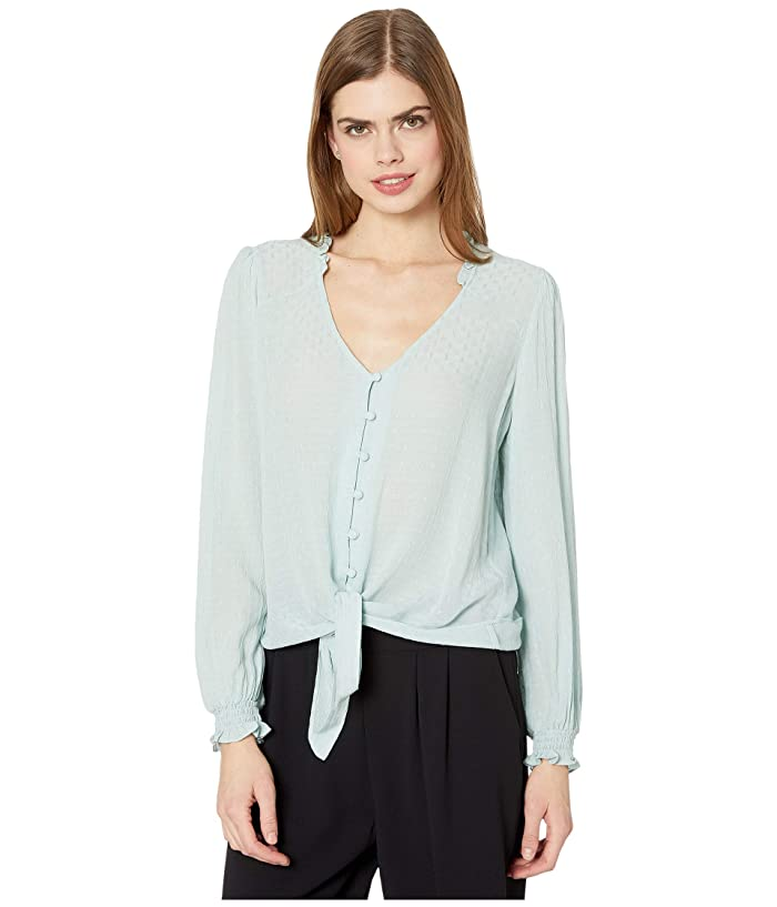 1.STATE  Long Sleeve Crinkle Dobby Button-Down Tie Front Blouse (Dusty Mint) Womens Clothing