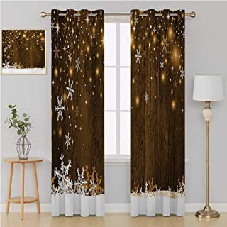 Benmo House Christmas Grommet Curtain Thermal Insulated Blackout Patio Door Curtain Panel,Rustic Wooden Backdrop with Snowflakes and Warm Traditional Celebration Print 84 by 84 Inch Gold White