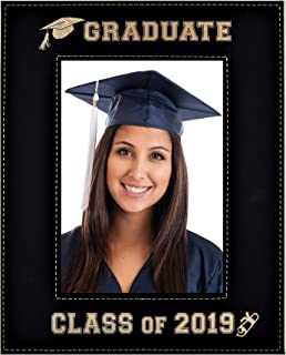 GIFT FOR GRADUATE / GRADUATION ~ Class of 2019 Picture Frame ~ Engraved Leatherette Graduation Picture Frame Elegant Black Frame Engraves in Gold Beautiful Display (Class of 2019 - 8x10)
