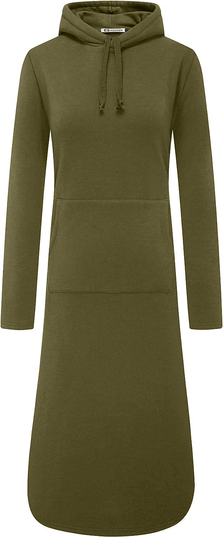 WenVen Womens Plus-Size Long Length Pullover Fleece Hoodie Sweatshirt Dress
