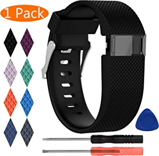 KingAcc Compatible Replacement Bands for Fitbit Charge HR, Soft Silicone Band with Metal Buckle Fitness Wristband Sport Strap Women Men Large